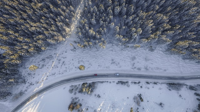 slippery winter road